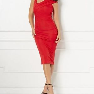 New York and Company Eva Mendes red dress